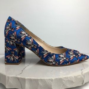 Marc Fisher Zala Block Heel Pointy Pump Blue Bees